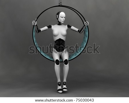 A robot woman sitting in a futuristic hammock. Grey background.