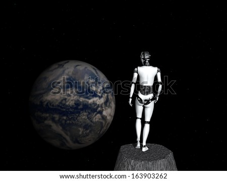 A robot woman standing in space, looking at earth.