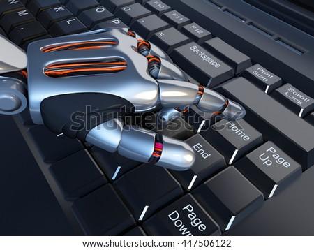 A robotic arm on a laptop.3d render - stock photo
