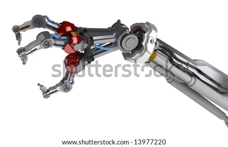 A robotic arm, over white, isolated - stock photo