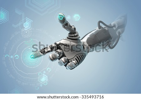 A robotic mechanical arm looks as like a human hand. Finger touching gesture. Cyber with Artificial Intelligence working with virtual Infographic HUD. Shining icons as control elements on background. - stock photo