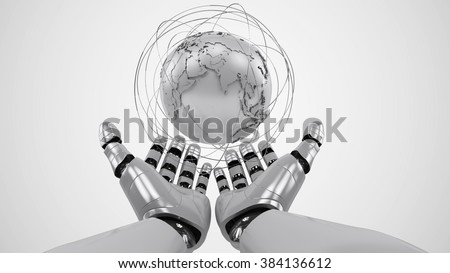 A robotic mechanical arm with globe. Strong stylish futuristic design concept. Cybernetic  organism with Artificial Intelligence. - stock photo