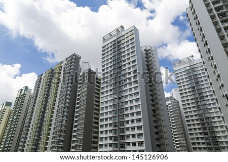 A roll of high rise Apartment blocks - stock photo