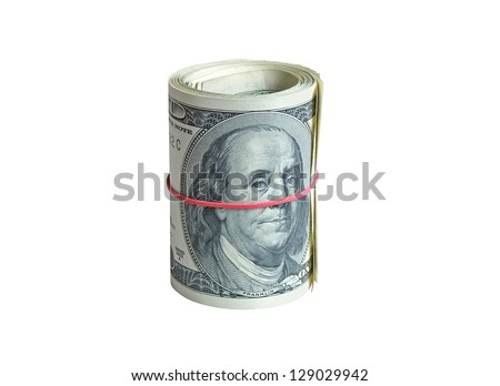 A rolls of dollars, isolated - stock photo