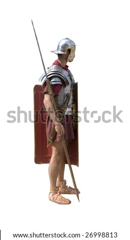 A Roman legionary soldier isolated on white - stock photo