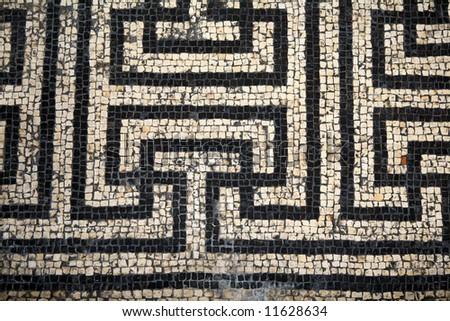 A Roman mosaic  from Bignor Roman Villa Sussex England - stock photo