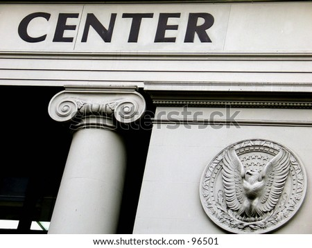 "A roman style building with columns and ""Center"" text. - stock photo"