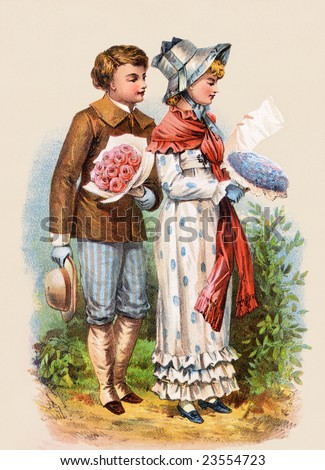 A romantic couple courting, exchanging flowers and letters - an 1886 Victorian style illustration - stock photo