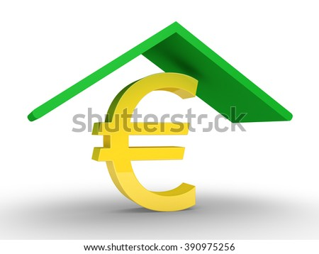 A roof is protecting a euro symbol - stock photo