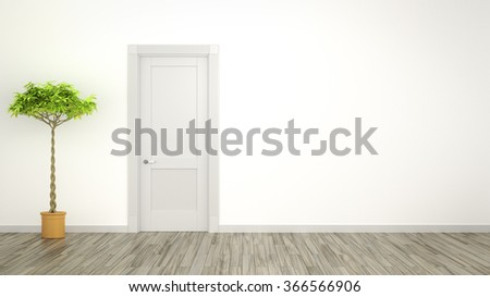 A room with a plant and space for your content - stock photo