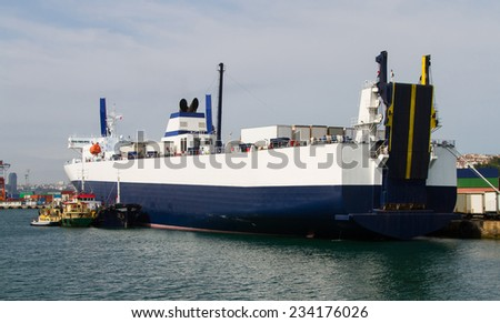 A Roro Ship is waiting in a Port - stock photo