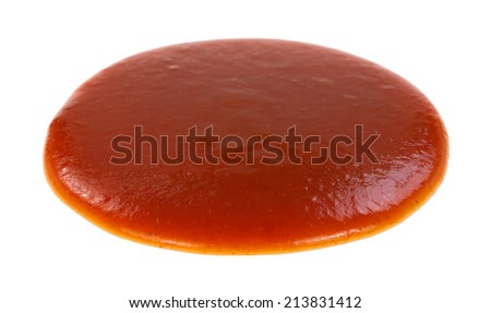 A round blob of red taco sauce on a white background. - stock photo