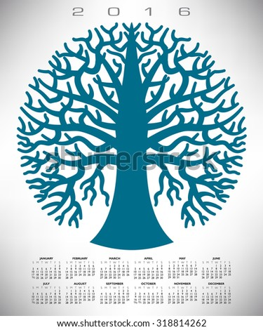 A 2016 round blue tree calendar for print or web - stock photo