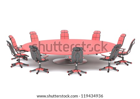 A round conference table with chairs - stock photo