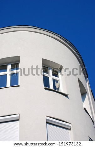 A round house A white round house and a blue sky.  - stock photo