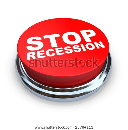 A round, red button on a white background reading Stop Recession - stock photo