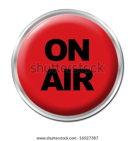 a round red button with the warning ON AIR - stock photo