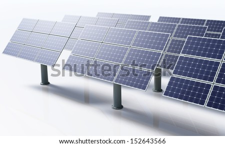 a row of a solar panels all the same oriented and fixed to the ground by metal pile, in a bright day on a white background