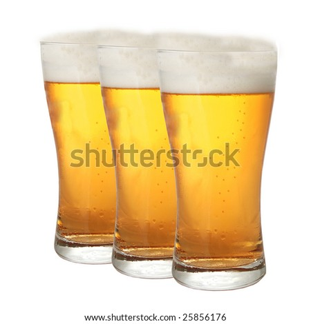 A row of beer pints isolated on white background