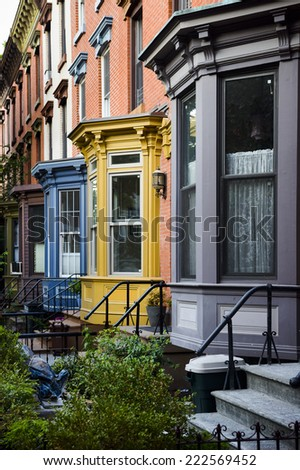 a row of colorful apartments - stock photo