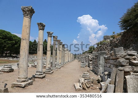 A row of columns in the lower Agora (marketplace) at the ancient city of Ephesus. - stock photo