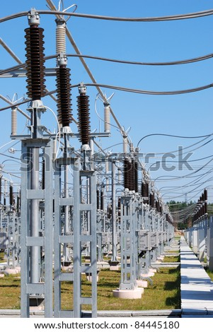A row of current transformers of a high voltage - stock photo