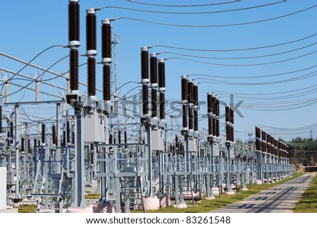 A row of cutouts filled with high voltage gas - stock photo