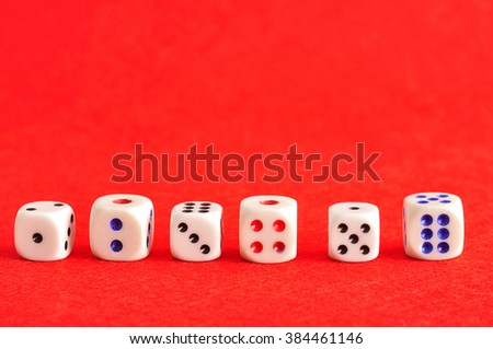 A row of dices from number one to six  - stock photo