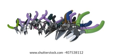 A row of different pliers for different functions - path included - stock photo