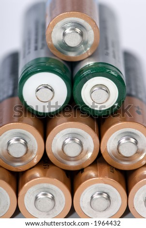 A row of different types of AA batteries