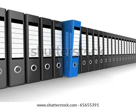 A row of files, with one blue one standing out from the others