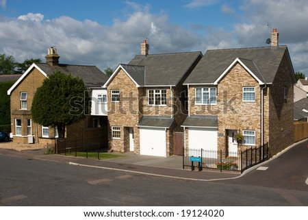 A row of modern English cottages, UK - stock photo