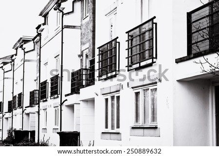 A row of new build apartments in the UK - stock photo