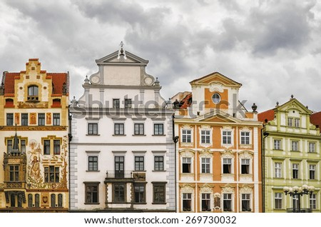 A Row of Old Houses in Presov, Slovakia - stock photo