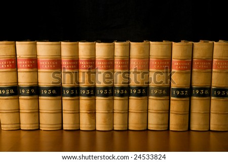 A row of old legal case reports.