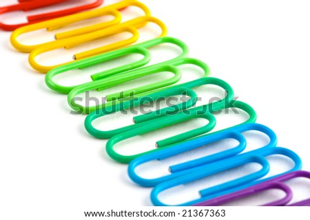 A row of paperclips - stock photo