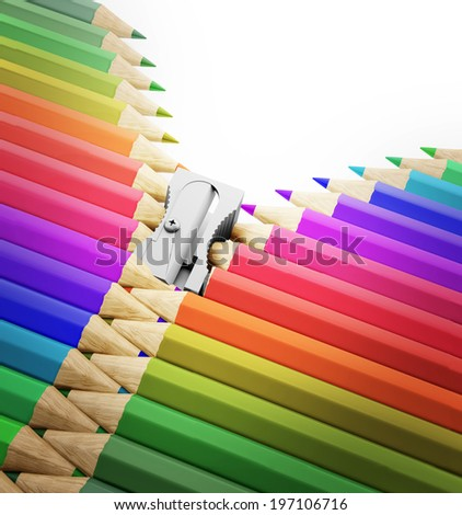 A row of pencils and sharpener forming a zipper - arts, creativity and school illustration  - stock photo