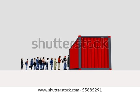 a row of people waiting in front of a container - stock photo