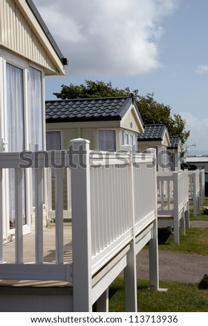 A row of  static caravans in a holiday park - stock photo