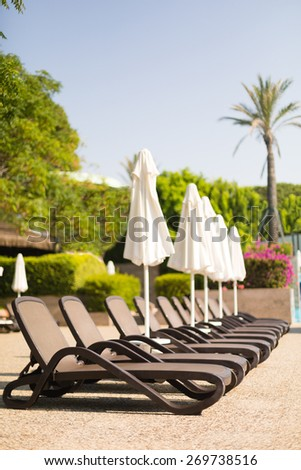 A row of sunbeds near a swimming pool at a tropical resort. Shallow DOF, focus on the nearest sunbed - stock photo
