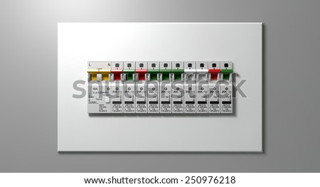 Row Switched On Household Electrical Circuit Stock Illustration ...