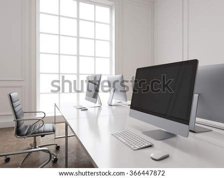 A row of working places with computers arranged so that workers face each other, black chairs along the tables. Panoramic window to the left. Concept of work. 3D rendering