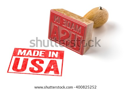 A rubber stamp on a white background - Made in USA