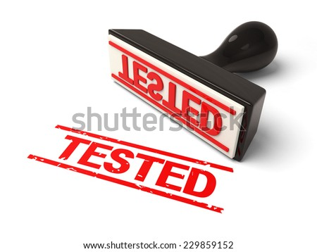 A rubber stamp tested in red ink.3d image. Isolated white background.