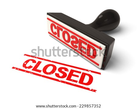 A rubber stamp with  closed in red ink.3d image. Isolated white background.