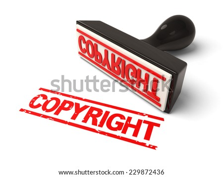 A rubber stamp with copyright in red ink.3d image. Isolated white background.