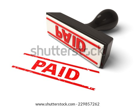 A rubber stamp with paid in red ink.3d image. Isolated white background.