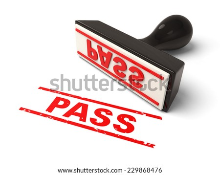 A rubber stamp with pass in red ink.3d image. Isolated white background.
