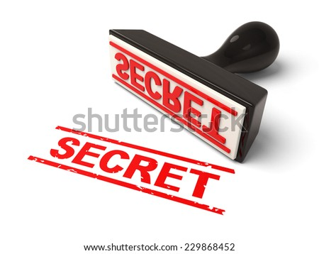 A rubber stamp with secret in red ink.3d image. Isolated white background.
