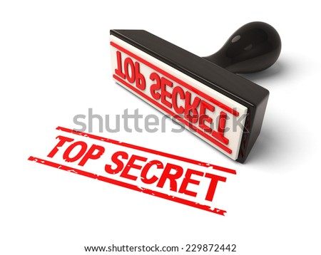 A rubber stamp with top secret in red ink.3d image. Isolated white background.